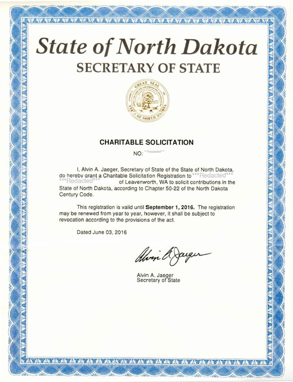 North Dakota charitable solicitation license, North Dakota fundraising license