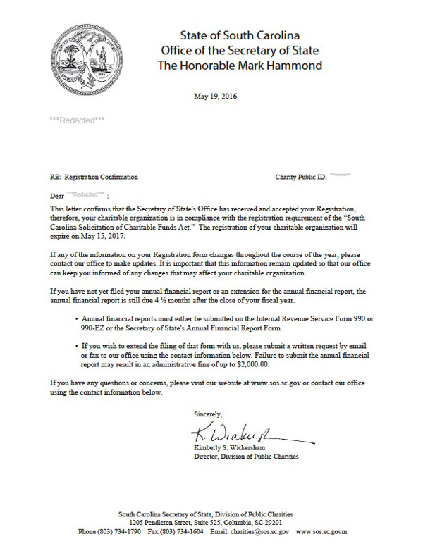 South Carolina charitable solicitation license, South Carolina fundraising license