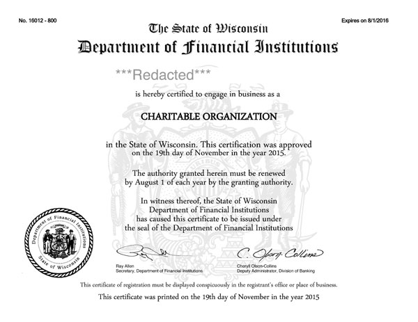Wisconsin charitable solicitation license, Wisconsin fundraising license