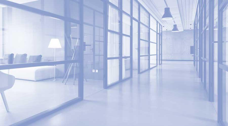 An empty office hallway
