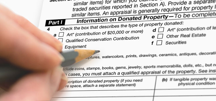 Filling out a form on donation property