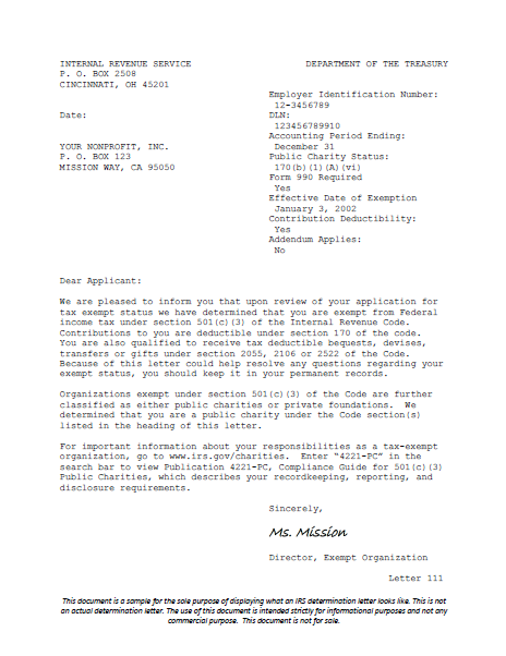 Irs Determination Letter Harbor Compliance