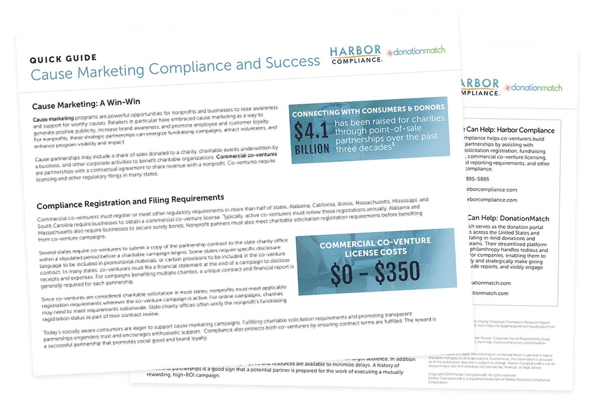 """A preview of our """"Cause Marketing Compliance and Success """" quick guide"""
