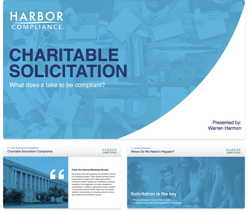 Preview shots of our Fundraise Without Borders: Charitable Solicitation Compliance webinar