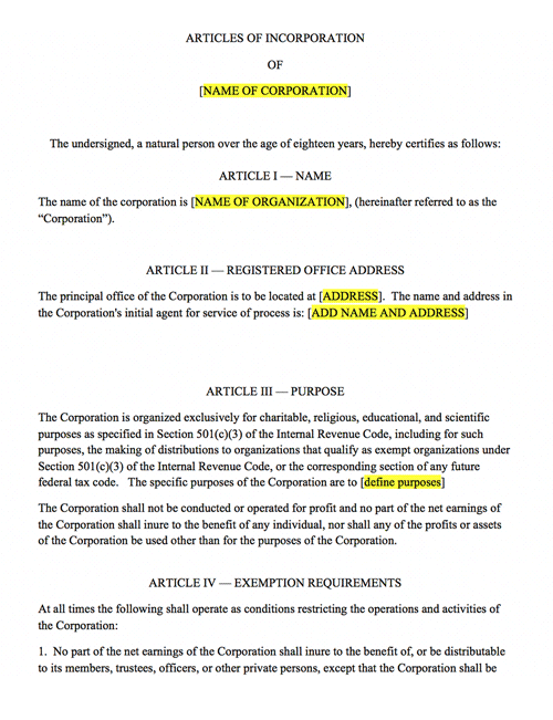 Nonprofit articles of incorporation harbor compliance for Nebraska certificate of organization template