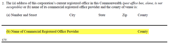 An example of a form asking for the name of a Commercial Registered Office Provider