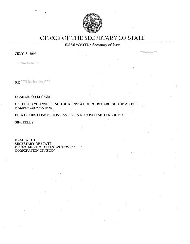 Illinois reinstatement example