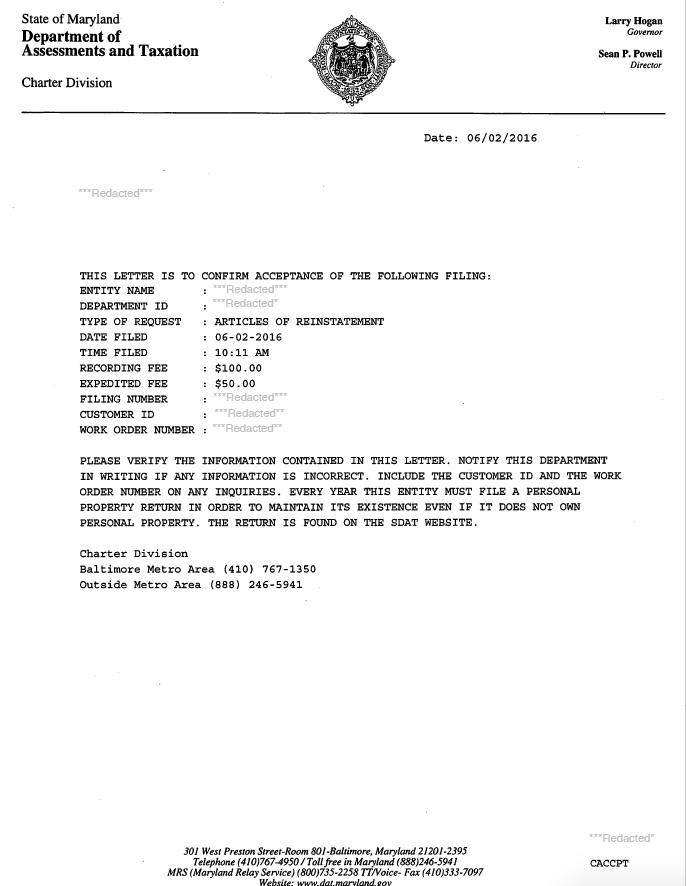 Reinstate Maryland Corporation Llc Nonprofit Harbor Compliance