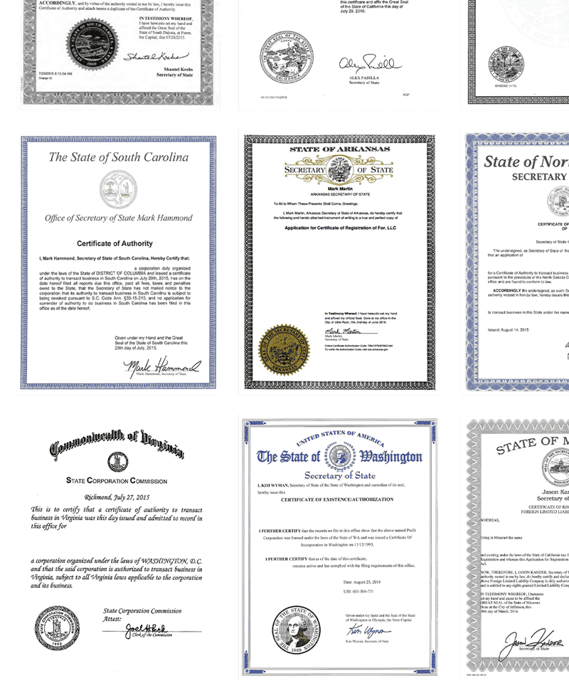 Multiple examples of state certificate of authorities