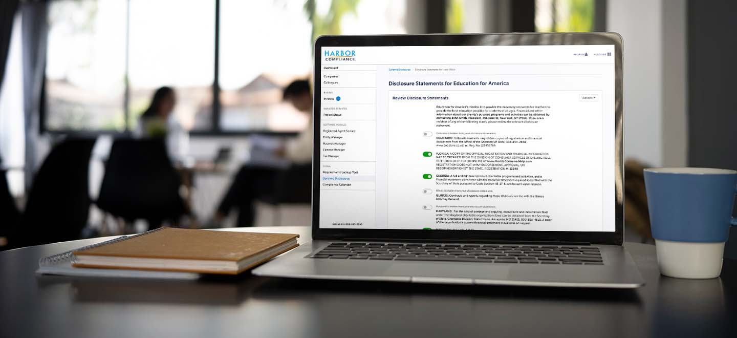 A preview of our Dynamic Disclosures software displayed on a laptop.