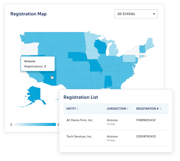 A screenshot of an overview map for state registrations