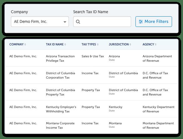 A screenshot of a list of tax registrations